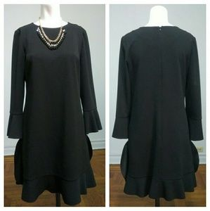 London Times Black Bell Sleeves Dress Size 6